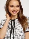 Блузка с коротким рукавом и контрастной отделкой oodji для женщины (белый), 11401254/42405/1229F