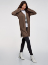 Кардиган без застежки с карманами oodji для женщины (коричневый), 63212589/45904/3900M - вид 6