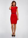Платье трикотажное с ремнем oodji для женщины (красный), 24008306/35477/4500N