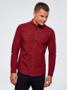 Рубашка хлопковая в клетку oodji #SECTION_NAME# (красный), 3L310168M/48837N/4529C - вид 2