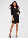 Платье с рукавом 3/4 вырезом на спине oodji для женщины (черный), 21900302/38357/2900N