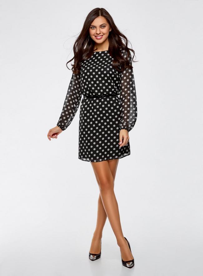 Платье из шифона с ремнем oodji для женщины (черный), 11900150-5/13632/2912D