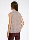 Блузка базовая без рукавов с воротником oodji #SECTION_NAME# (коричневый), 11411084B/43414/4910F - вид 3