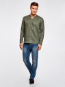 Рубашка льняная без воротника oodji #SECTION_NAME# (зеленый), 3B320002M/21155N/6600N - вид 6
