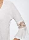 Блузка трикотажная с кружевными вставками на рукавах oodji #SECTION_NAME# (белый), 11308096/43222/1000N - вид 5