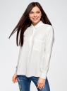 Блузка вискозная с нагрудным карманом oodji #SECTION_NAME# (слоновая кость), 13L11012-1/47741/1200N - вид 2
