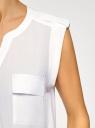 Блузка с короткими рукавами и нагрудными карманами oodji #SECTION_NAME# (белый), 21412132-2B/24681/1200N - вид 5