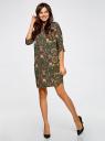 Платье принтованное прямого силуэта oodji #SECTION_NAME# (зеленый), 21900322-1/42913/6859F - вид 2