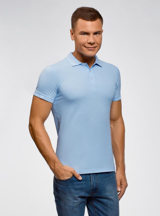 Поло из ткани пике oodji для мужчины (синий), 5B422001M/44032N/7000N