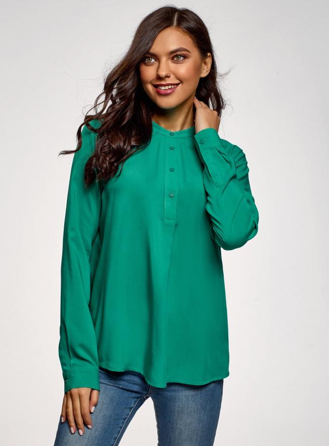 Блузка вискозная А-образного силуэта oodji #SECTION_NAME# (зеленый), 21411113-1B/48458/6D00N