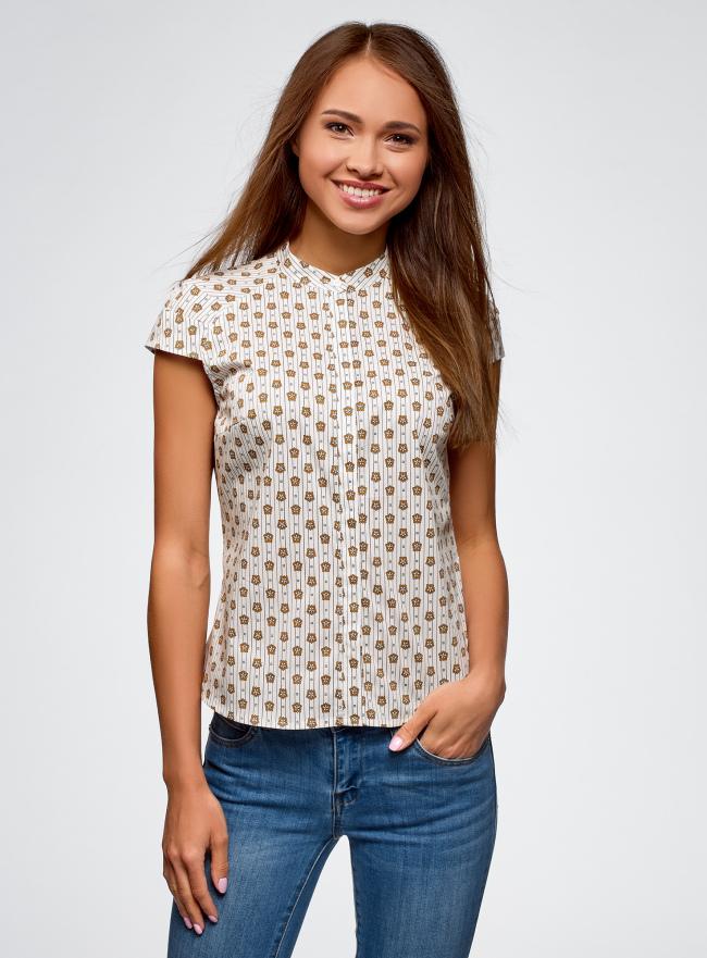 Рубашка реглан с воротником-стойкой oodji для женщины (белый), 13K03006-1B/26357/1252G