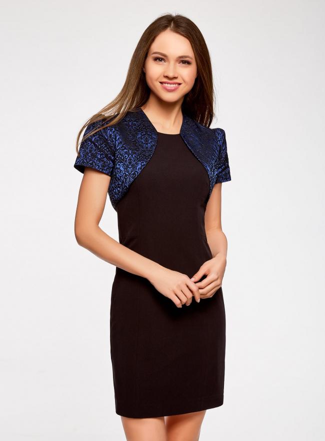 Жакет-болеро из жаккардовой ткани oodji для женщины (синий), 22A00003-1/38560/7529J