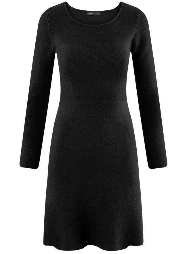 Платье вязаное с расклешенным низом oodji для женщины (черный), 63912223/46096/2900N