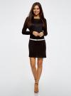 Платье трикотажное с ремнем oodji #SECTION_NAME# (черный), 14008010/15640/2900N - вид 2