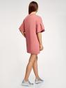 Платье прямого силуэта с воланами на рукавах oodji #SECTION_NAME# (розовый), 14000172B/48033/4B00N - вид 3