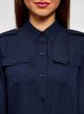 Блузка из струящейся ткани с нагрудными карманами oodji #SECTION_NAME# (синий), 11401278/36215/7900N - вид 4