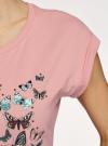 Футболка хлопковая с принтом oodji для женщины (розовый), 14708032-11/46159/4A69U - вид 5