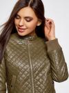Куртка стеганая из искусственной кожи oodji #SECTION_NAME# (зеленый), 28A03001/45639/6800N - вид 4