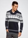 Пуловер с зимним узором и воротником-шалькой oodji #SECTION_NAME# (синий), 4L205022M/44012N/7912J - вид 2