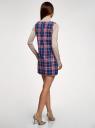 Платье клетчатое без рукавов oodji #SECTION_NAME# (синий), 11910072-2/32831/7945C - вид 3