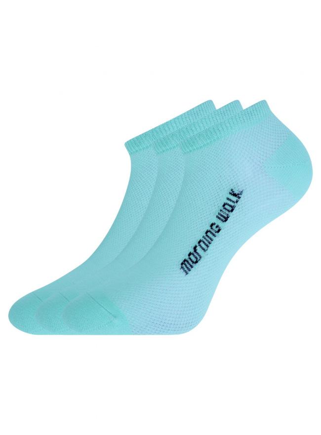 Комплект укороченных носков (3 пары) oodji для женщины (синий), 57102604T3/48022/7