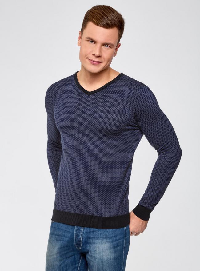 Пуловер с V-образным вырезом и контрастной отделкой oodji #SECTION_NAME# (синий), 4L212160M/44357N/7974J