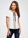 Блузка с коротким рукавом и контрастной отделкой oodji для женщины (белый), 11401254/42405/1200N