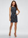 Платье льняное без рукавов oodji #SECTION_NAME# (синий), 12C00002-1B/16009/7962F - вид 6