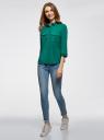Блузка из струящейся ткани с нагрудными карманами oodji #SECTION_NAME# (зеленый), 11403225-6B/48853/6E02N - вид 6
