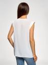 Блузка с короткими рукавами и нагрудными карманами oodji #SECTION_NAME# (белый), 21412132-2B/24681/1200N - вид 3