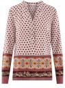 Блузка прямого силуэта с V-образным вырезом oodji #SECTION_NAME# (коричневый), 21400394-3/24681/1231E