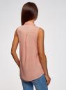 Топ вискозный с рубашечным воротником oodji #SECTION_NAME# (розовый), 14911009B/26346/5400N - вид 3