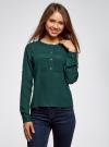 Блузка шифоновая в стиле милитари oodji #SECTION_NAME# (зеленый), 11411062/43291/6E00N - вид 2