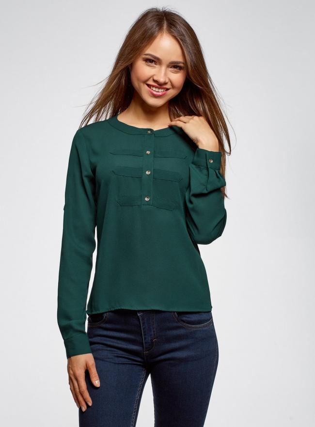 Блузка шифоновая в стиле милитари oodji #SECTION_NAME# (зеленый), 11411062/43291/6E00N