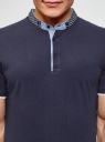 Поло из ткани пике с воротником-стойкой oodji для мужчины (синий), 5L412294M/46508N/7975B