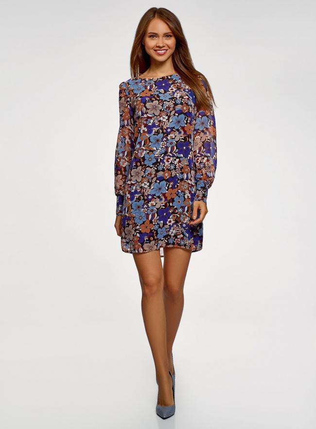 Платье прямого силуэта из струящейся ткани oodji #SECTION_NAME# (синий), 11900150-13/13632/2970F