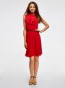 Платье из струящейся ткани с жабо oodji #SECTION_NAME# (красный), 21913018/36215/4500N - вид 2