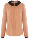 Блузка из струящейся ткани с контрастным воротником oodji #SECTION_NAME# (бежевый), 11411117-1B/49474/3529B