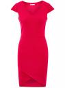 Платье с V-образным вырезом и асимметричным низом oodji #SECTION_NAME# (розовый), 14001208/22132/4700N