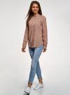 Блузка принтованная из вискозы с воротником-стойкой oodji #SECTION_NAME# (бежевый), 21411063-1/26346/3512F - вид 6
