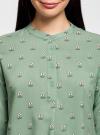 Блузка вискозная А-образного силуэта oodji #SECTION_NAME# (зеленый), 21411113B/26346/6529F - вид 4