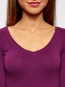 Футболка с V-образным вырезом и рукавом 3/4 oodji для женщины (фиолетовый), 24211002B/46147/8300N
