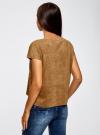 Блузка из искусственной замши с декором из металлических страз oodji #SECTION_NAME# (коричневый), 11411115/45622/3700N - вид 3