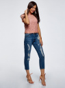 Блузка ажурная с коротким рукавом oodji #SECTION_NAME# (розовый), 11401277/48132/4B00L - вид 6
