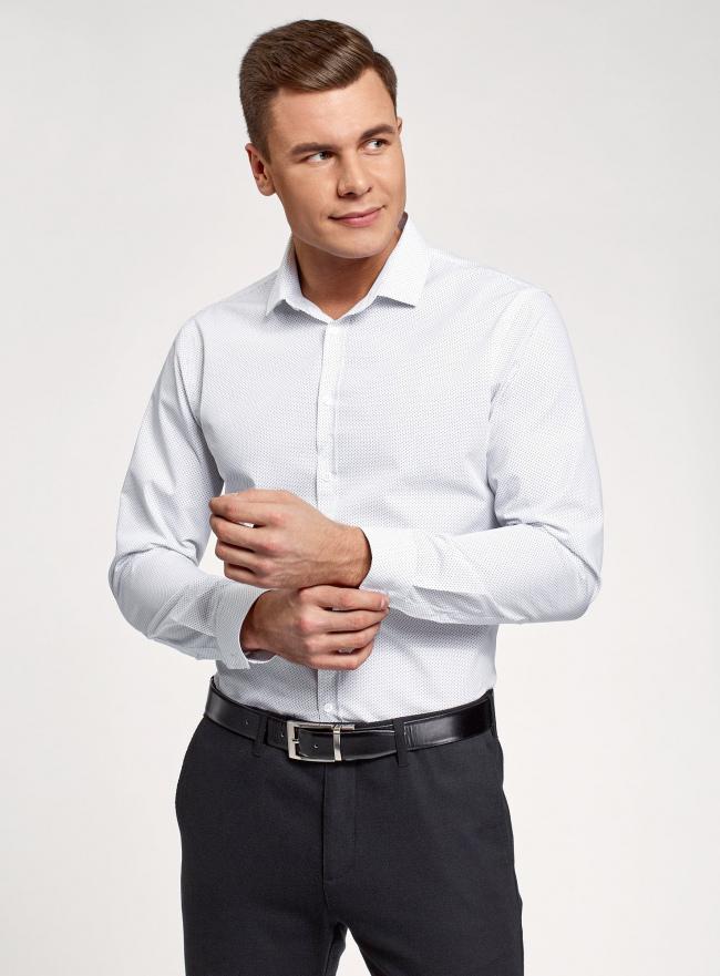 Рубашка базовая из хлопка oodji для мужчины (белый), 3B110016M-1/44425N/1075D