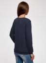 Свитшот прямого силуэта из фактурной ткани oodji #SECTION_NAME# (синий), 14801037-2/45247/7900N - вид 3
