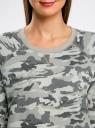 Свитшот хлопковый прямого силуэта oodji для женщины (зеленый), 14807021-1B/46919/6025O