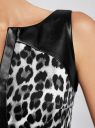Платье прилегающего силуэта с отделкой из искусственной кожи oodji для женщины (черный), 21901139-1/14522/2910A