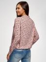 Блузка свободного силуэта из струящейся ткани oodji для женщины (розовый), 11400454/42540/4029F