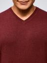 Пуловер базовый с V-образным вырезом oodji #SECTION_NAME# (красный), 4B212007M-1/34390N/4C00M - вид 4